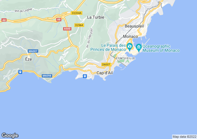 Map for Beautiful Villa, Cap-D'Ail, Alpes-Maritimes