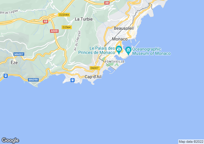 Map for Villa With Panoramic Sea Views, Cap D'ail, Alpes Maritimes