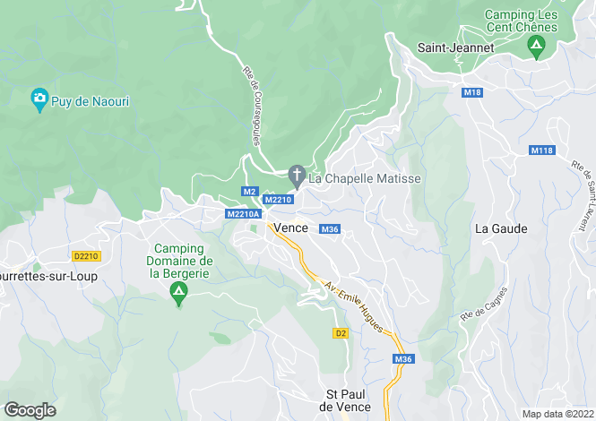 Map for Vence, French Riviera