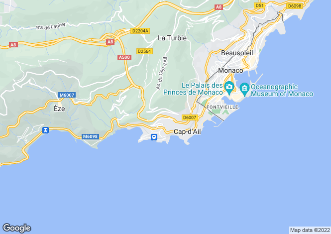 Map for Renovation With Planning For Sale, Cap D'Ail, Alpes Maritimes