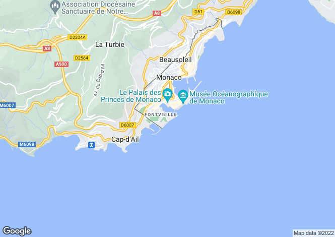 Map for Renovated Apartment, Fontvieille Marina, Monaco
