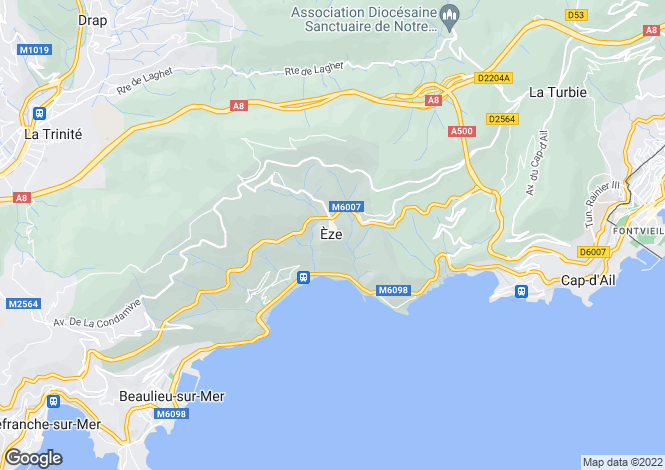 Map for Eze, Nice, France