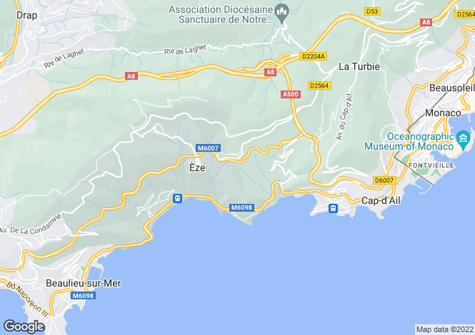 Map for Èze (Bord de Mer), 06360, France