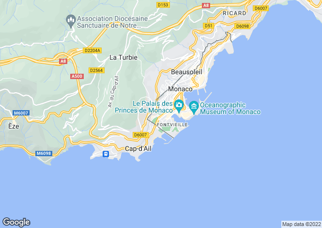 Map for Monte Carlo,Monaco