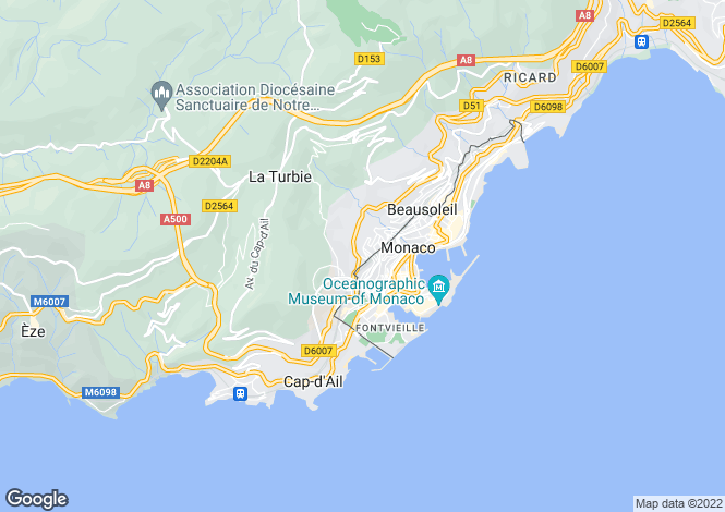 Map for Beausoleil, French Riviera