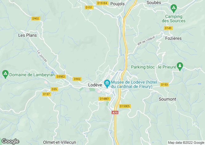 Map for Lodève, Hérault, Languedoc-Roussillon