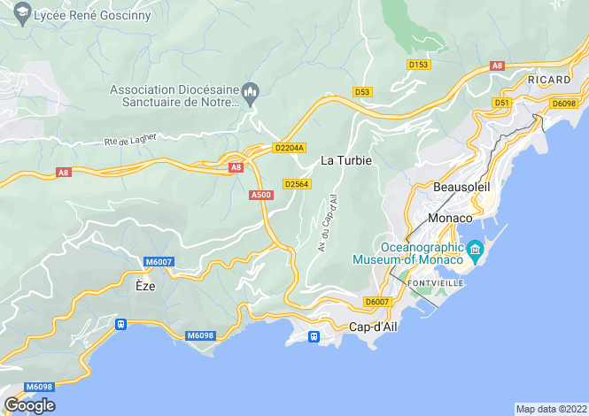 Map for Eze, French Riviera