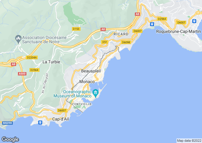 Map for Mirabeau, Golden Square, Monaco