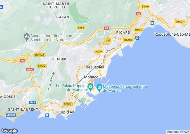 Map for Provence-Alps-Cote d`Azur, Alpes-Maritimes, Beausoleil