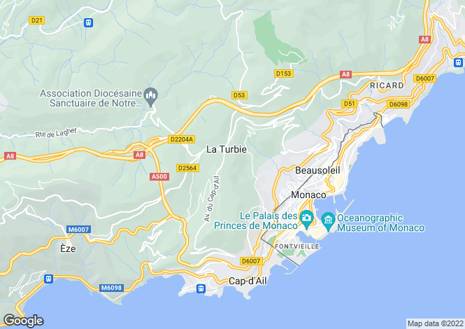 Map for Avenue de La Pinède, La Turbie, French Riviera