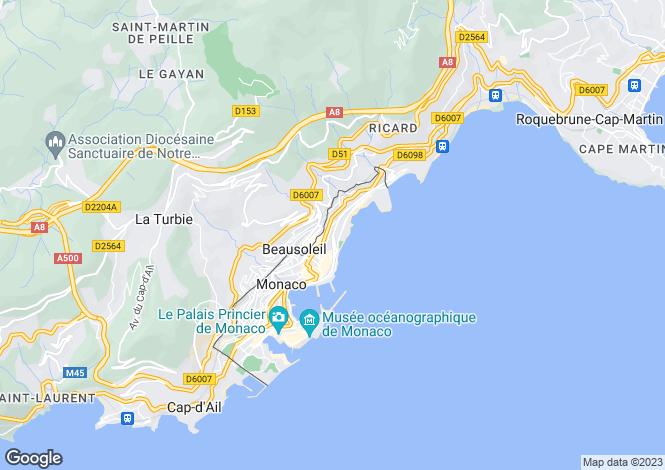 Map for Modern Apartment Nr The Beach, Monaco