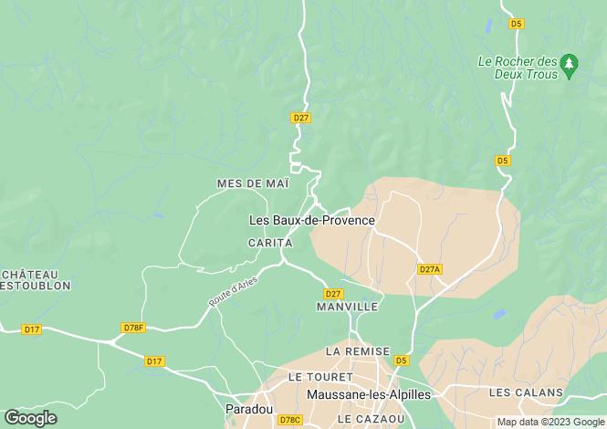 Map for Les Baux de Provence, Alpilles, South Of France