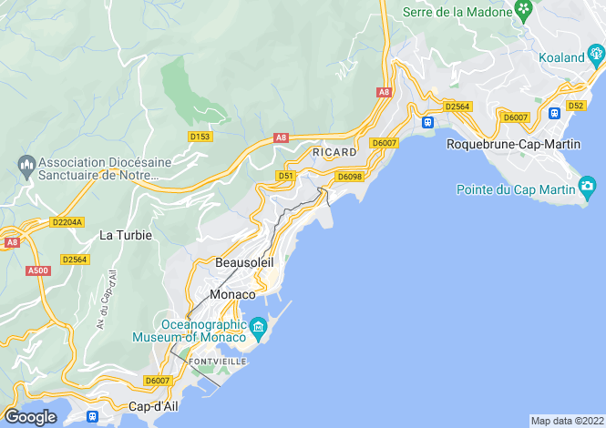 Map for Larvotto Beaches, Monaco