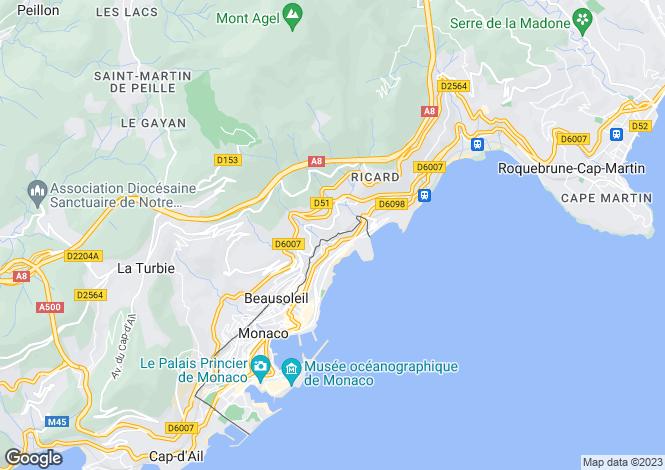 Map for Provence-Alpes-Cote d'Azur, Alpes-Maritimes, Beausoleil