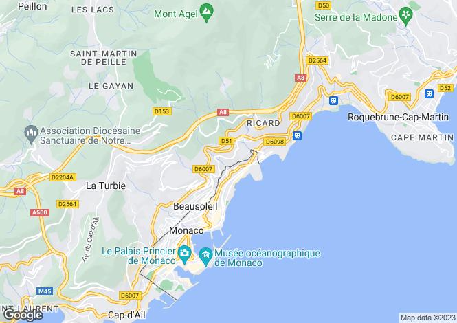 Map for Beausoleil, Alpes-Maritimes, France