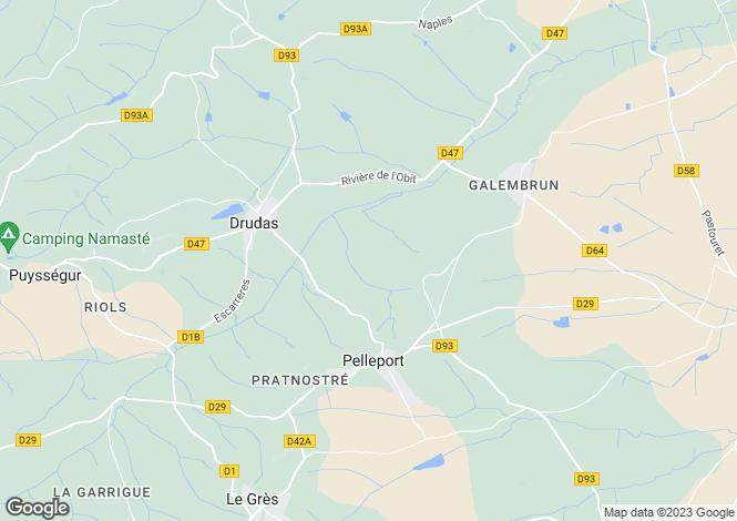 Map for drudas, Haute-Garonne, France