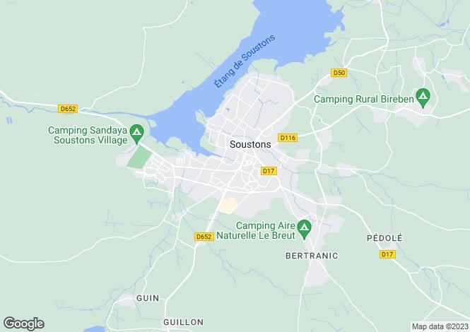 Map for soustons, Landes, France