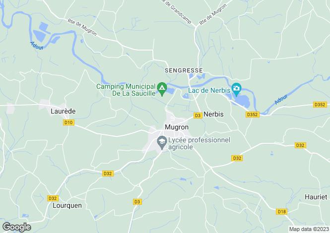 Map for Aquitaine, Landes, Mugron