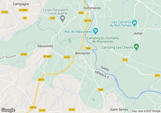 Map for boisseron, Hérault, France