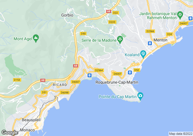 Map for Roquebrune Cap Martin, French Riviera