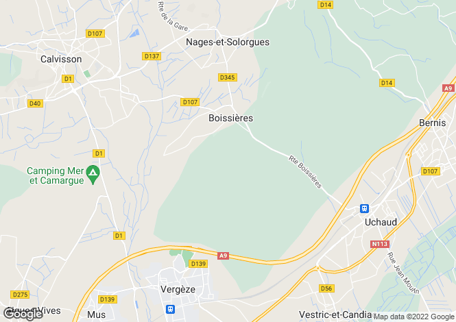 Map for boissieres, Gard, France