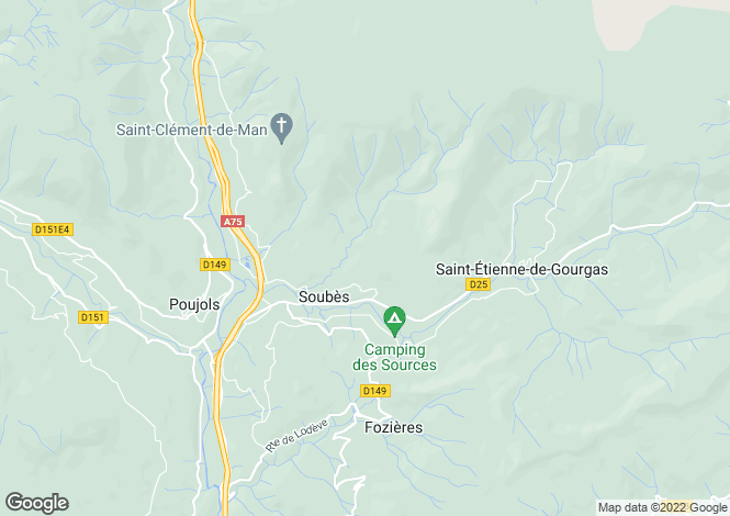 Map for Soubès, Hérault, Languedoc-Roussillon