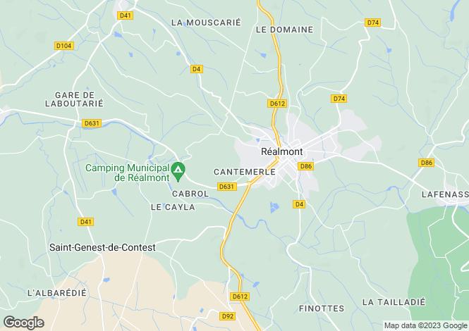 Map for Midi-Pyrénées, Tarn, Réalmont