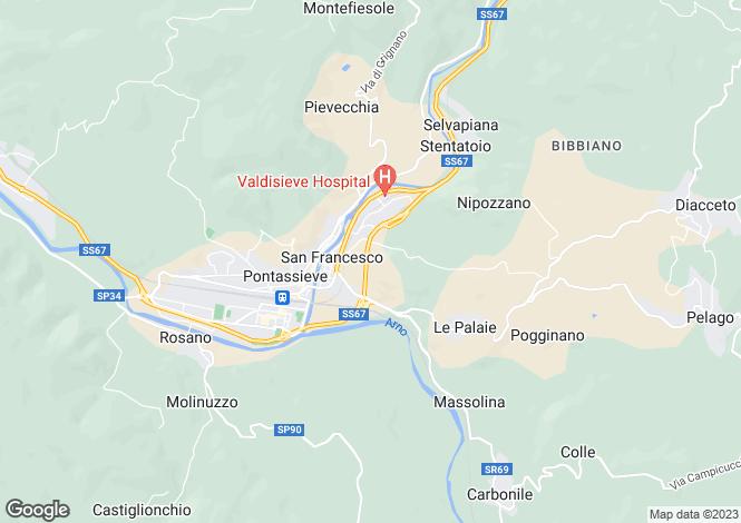 Map for Pontassieve, Florence, Tuscany