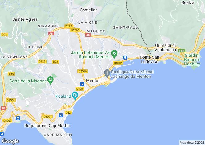 Map for Provence-Alpes-Cote d'Azur, Alpes-Maritimes, Menton