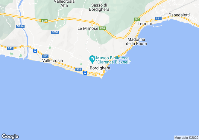 Map for Liguria, Imperia, Bordighera