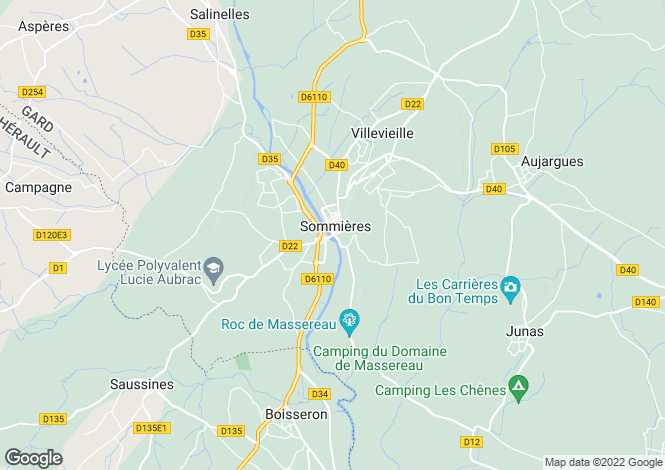 Map for Sommières, Gard, Languedoc-Roussillon