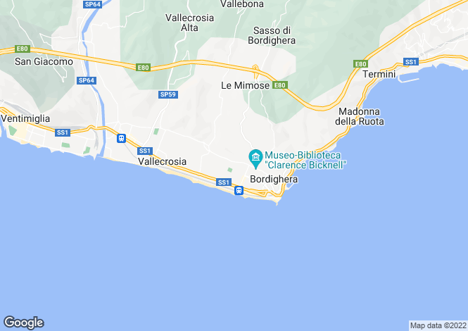 Map for Bordighera, Imperia, Liguria