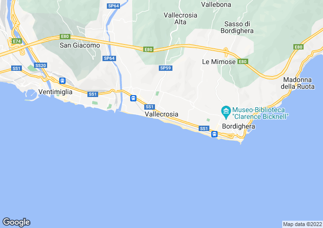 Map for Vallecrosia, Imperia, Liguria