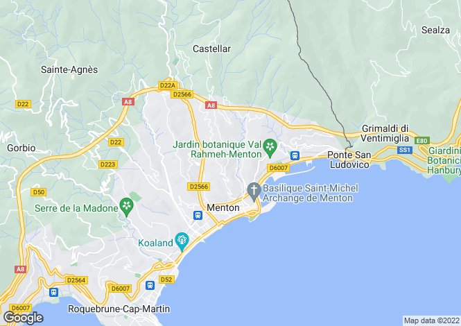Map for Menton, 06500, France