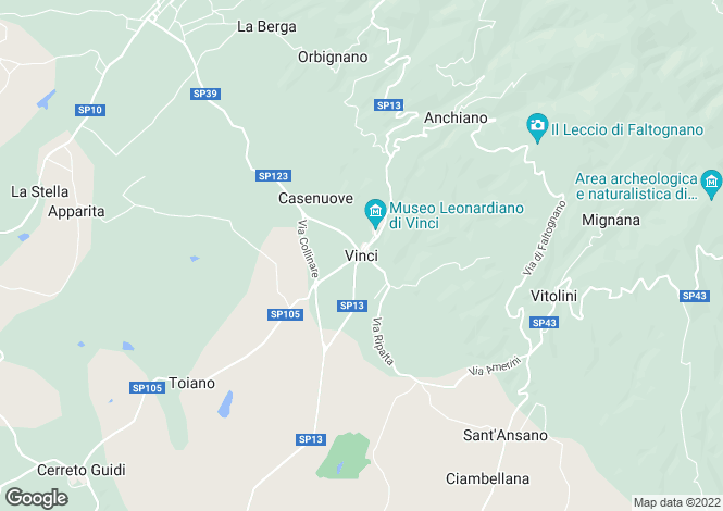 Map for Vinci, Firenze, Italy
