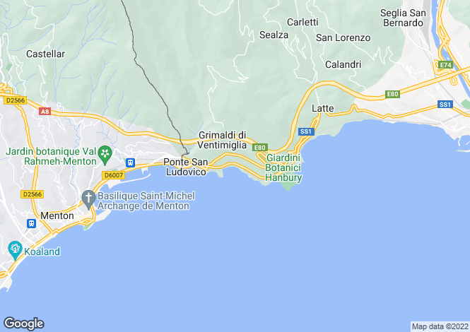 Map for Liguria, Imperia, Ventimiglia