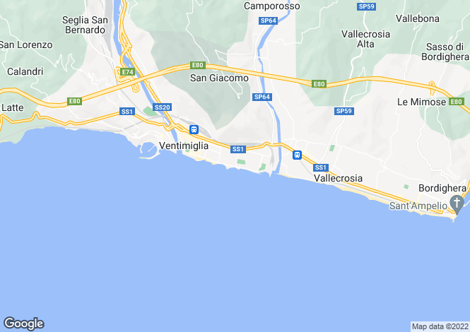 Map for Ventimiglia, Imperia, Liguria
