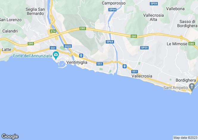 Map for Ventimiglia, Imperia, Liguria
