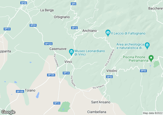 Map for Vinci, Tuscany, Italy