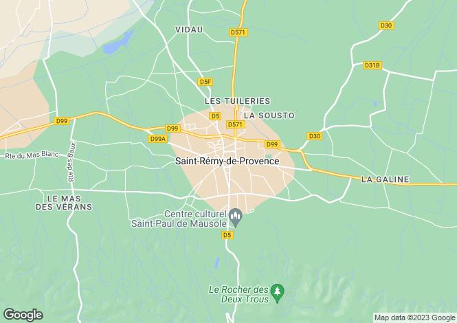Map for Provence-Alps-Cote d`Azur, Bouches-du-Rhône, St-Rémy-de-Provence
