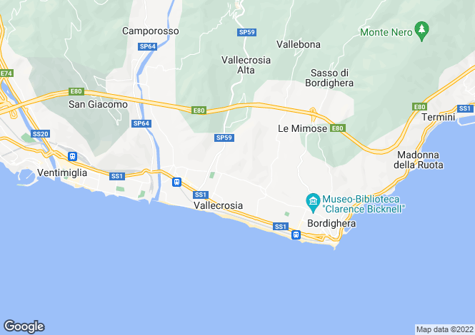 Map for Vallecrosia, Imperia, Liguria