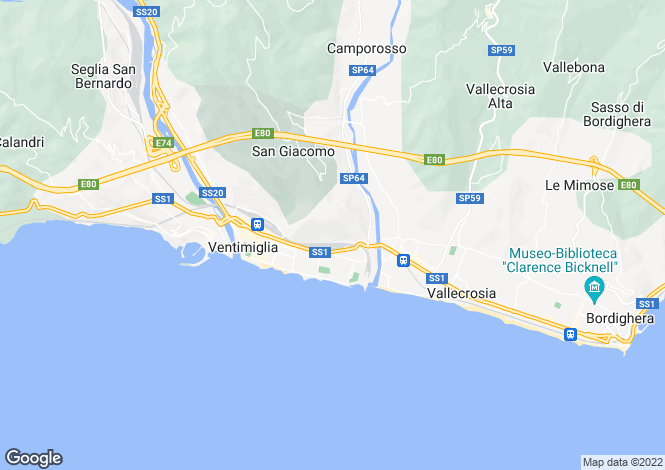 Map for Ventimiglia,Italy