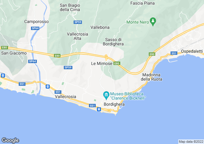 Map for Liguria, Imperia, Bordighera