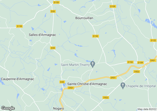 Map for bourrouillan, Gers, France