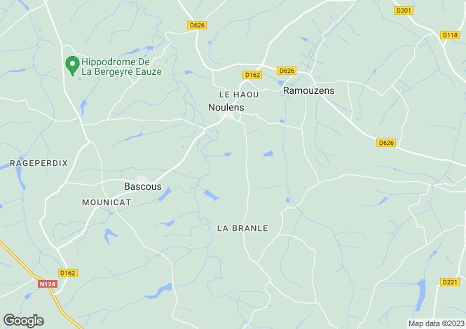 Map for Midi-Pyrénées, Gers, Noulens