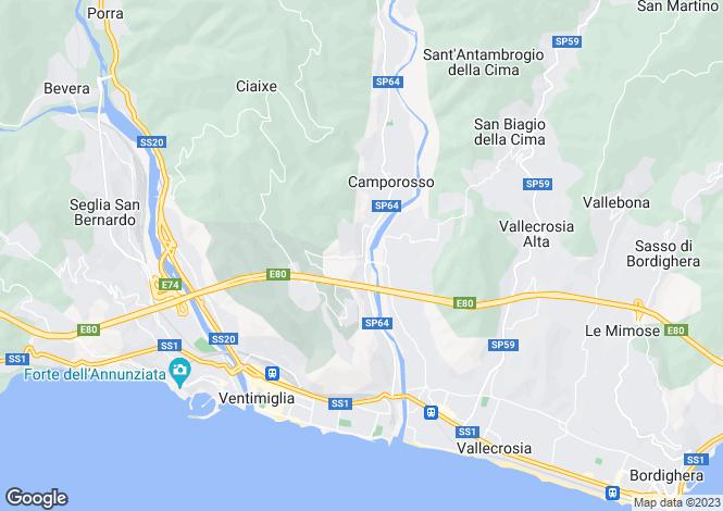 Map for Camporosso, Imperia, Liguria
