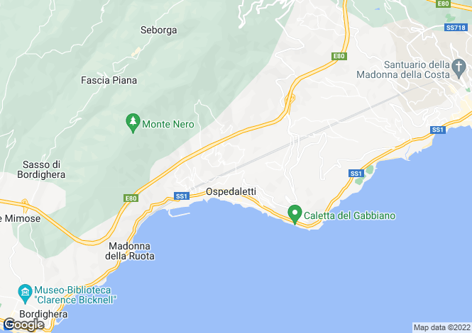 Map for Ospedaletti, Imperia, Liguria