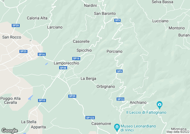 Map for Italy - Tuscany, Florence, Vinci