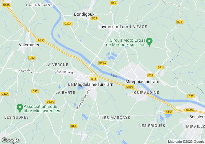 Map for Midi-Pyrénées, Haute-Garonne, La Magdelaine-sur-Tarn