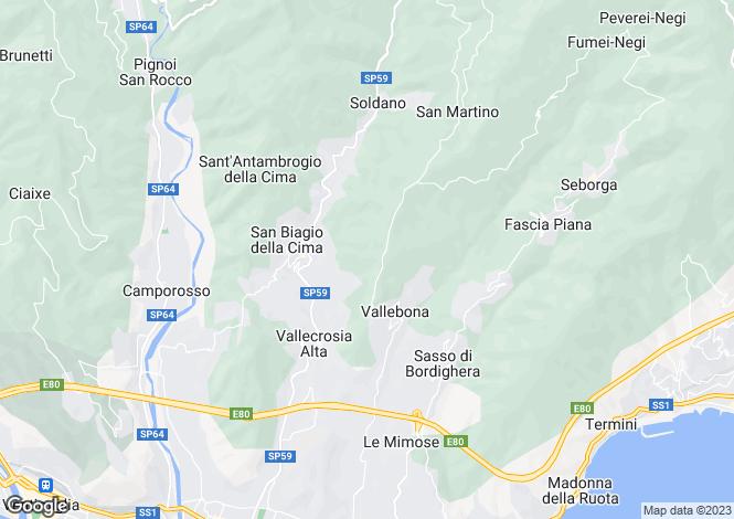 Map for Vallebona, Imperia, Liguria